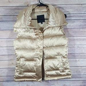 Talbots duck down puffer vest size small gold